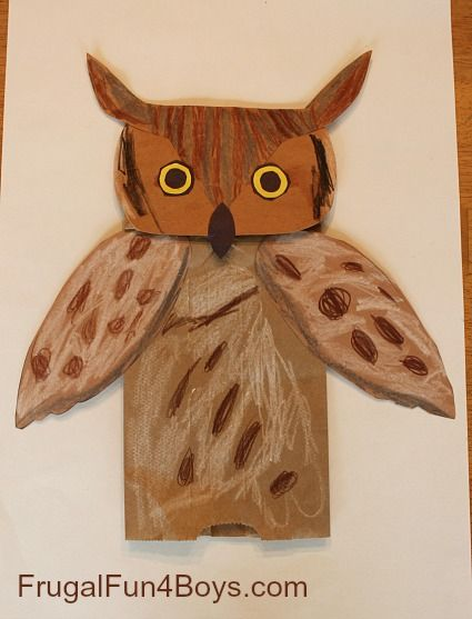 Great Horned Owl Paper Bag Puppets.  Owl craft for kids.