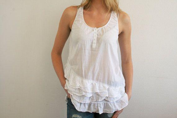 White Linen Blouse Button Up Shirt Boho Top blouse Linen white blouse Casual Folk Style 34 Long Sleeve Top Medium Size