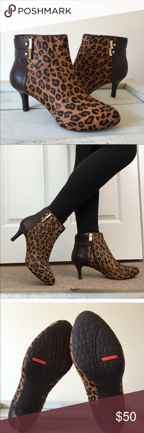 Stockport Leopard Booties, NWOT Sexy Leopard booties from Rockport. The Leopard pattern is dyed calf hair, the upper bootie is leather, and the sole is a grippy rubber material.  Be comfortable, yet stylish, these booties are cushioned and shock absorbing comfort.  2.5 heels, NWOT, No Box Rockp Shoes Heeled Boots