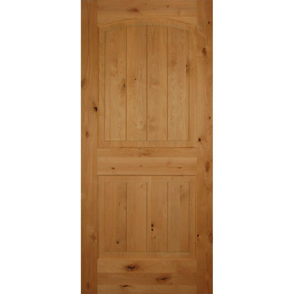 Builders Choice 30 in. x 80 in. 2-Panel Arch Top Unfinished V ...