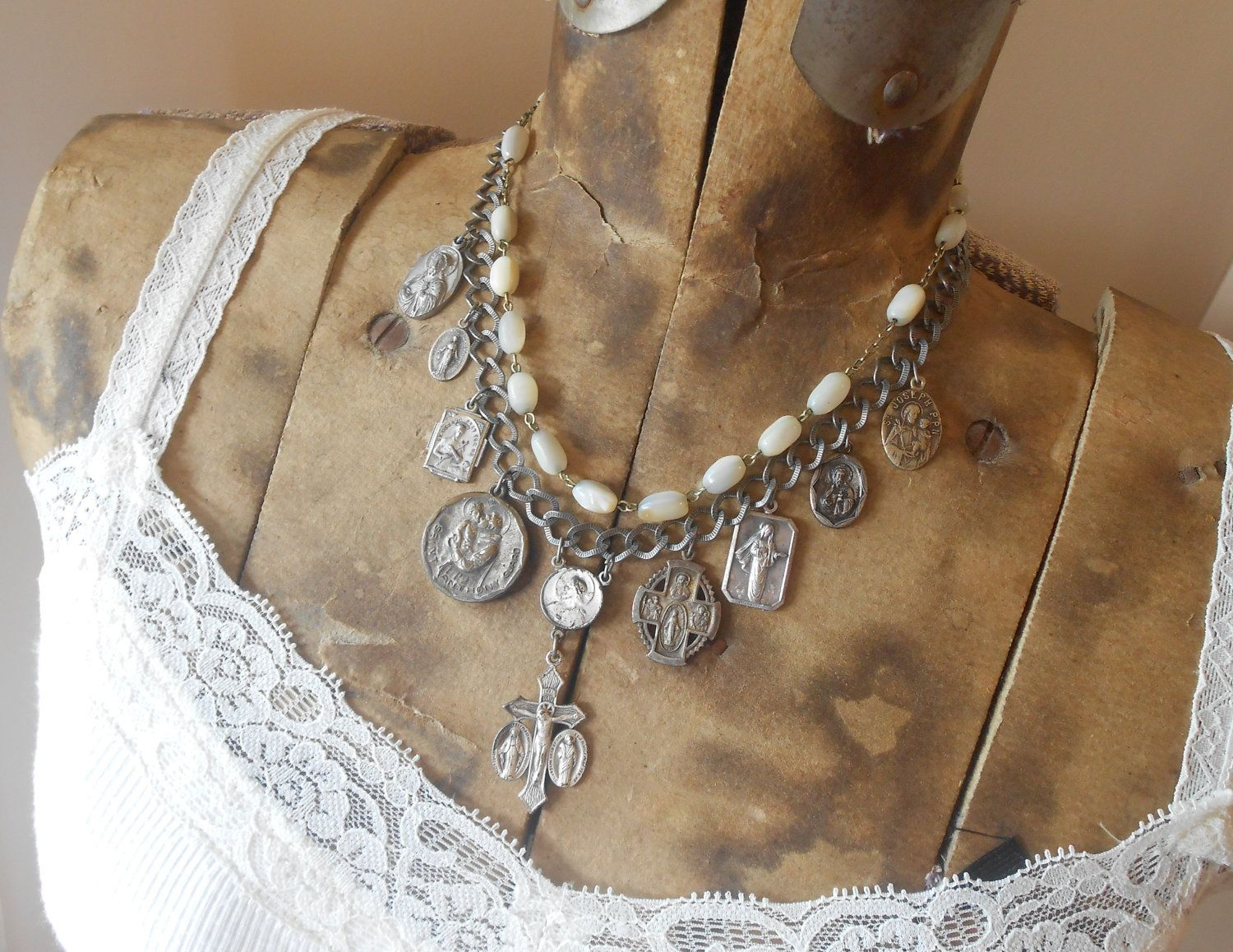 Religious Medal Charm Necklace Vintage Silver Catholic Medals Antique Mother  Of Pearl Rosary Beads $19500