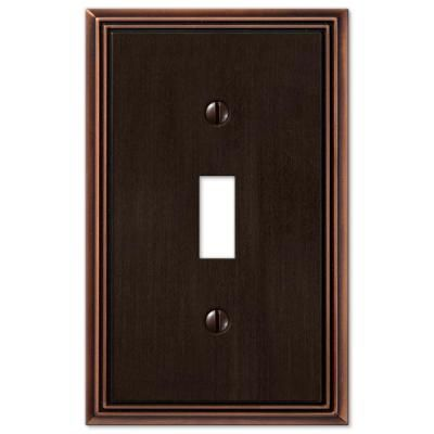 Amerelle Metro Line 1 Toggle Wall Plate Aged Bronze Plates On