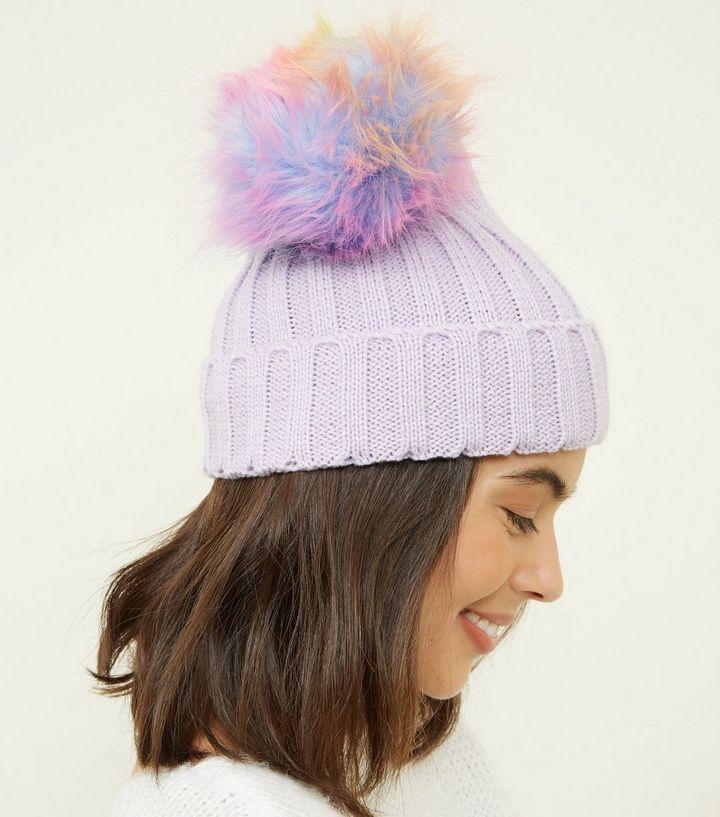 c11578388fb34 Lilac Rainbow Pom Pom Bobble Hat