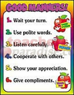 Manners Printables Good Manners Chart From Teachersparadisecom