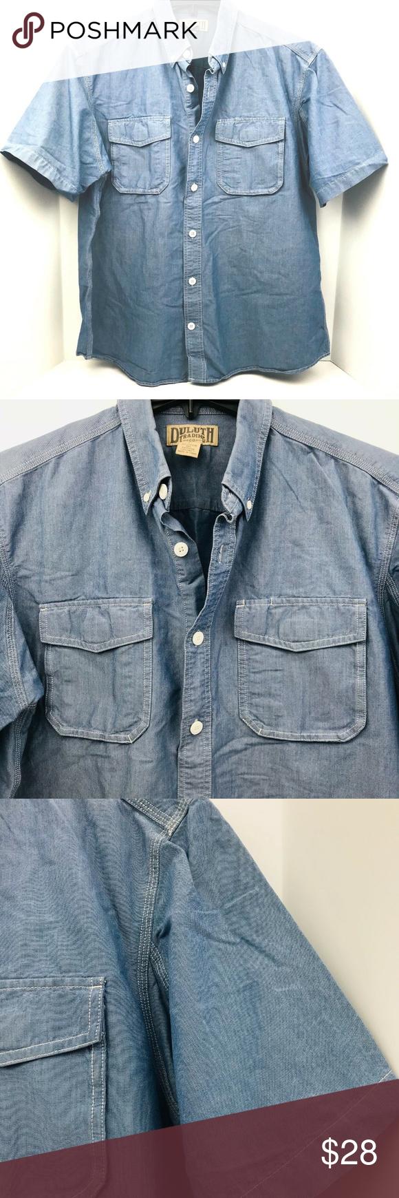 GLORYA Mens Button Down Short Sleeve Washed Jean T-Shirts