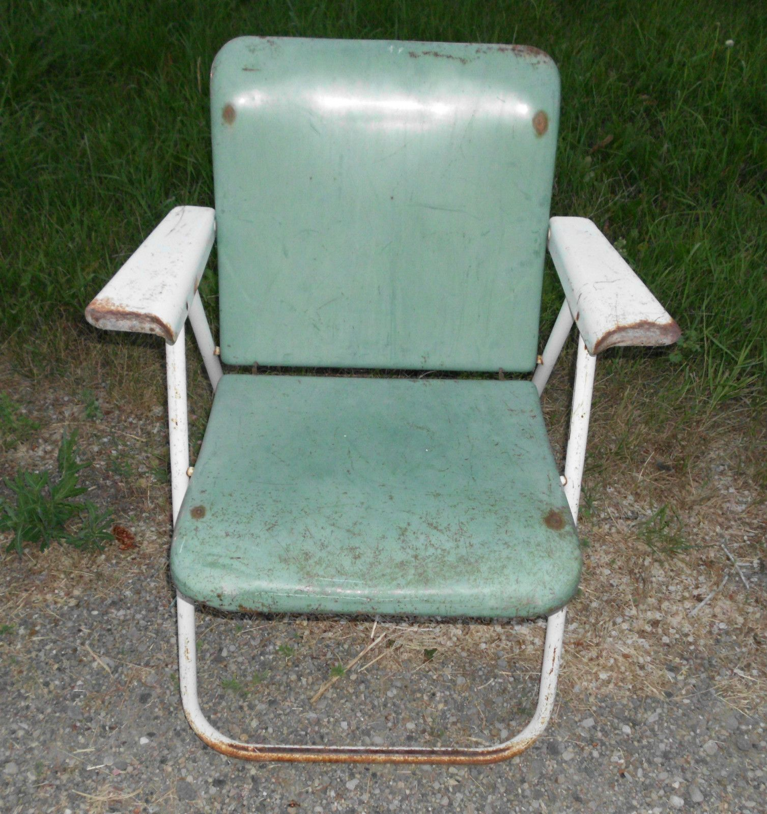 Antique Vintage Heavy Metal Folding Lawn Patio Chair Samsonite ? Green - Antique Vintage Heavy Metal Folding Lawn Patio Chair Samsonite