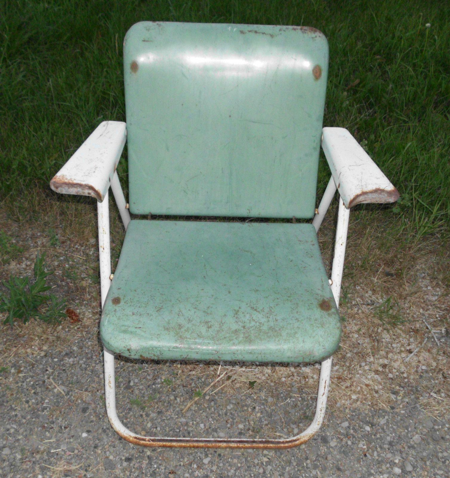 Antique Vintage Heavy Metal Folding Lawn Patio Chair Samsonite   Green. Antique Motel Chairs. Home Design Ideas