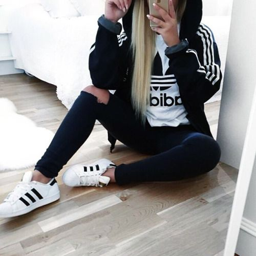 Fashion ripped denim jeans white black adidas shirt hoodie jacket and superstars Fashion style girl adidas