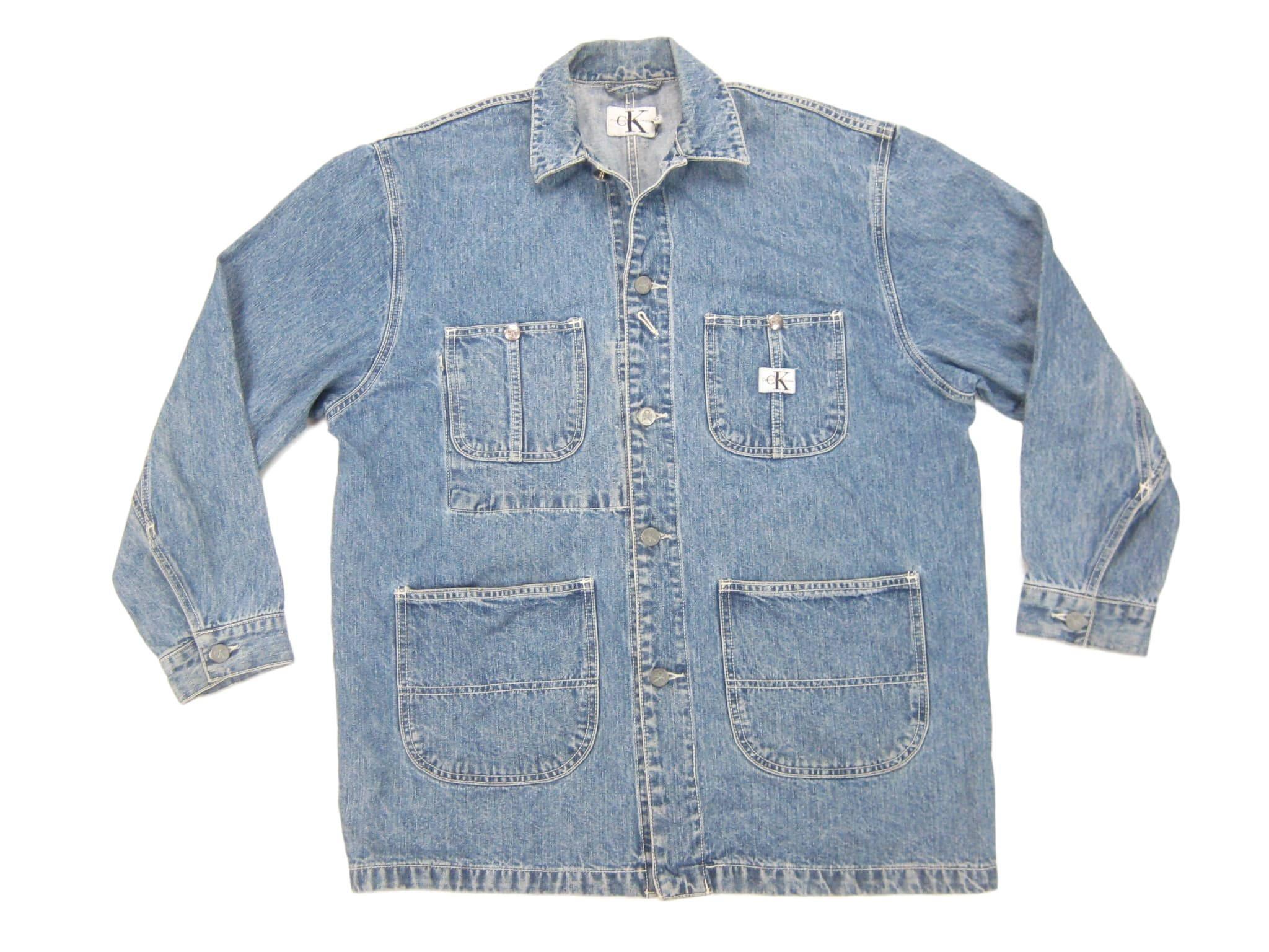 1990s Calvin Klein Denim Chore Coat Vintage Retro 90s Ck Jeans Denim Ck Jeans Chore Coat