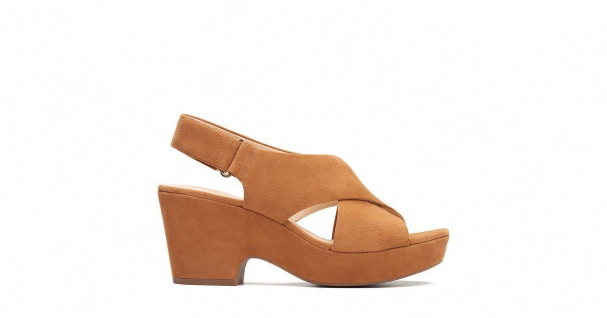 69bce6a1ebf4 Maritsa Lara Tan Suede - Womens Heel Sandals - Clarks® Shoes Official Site