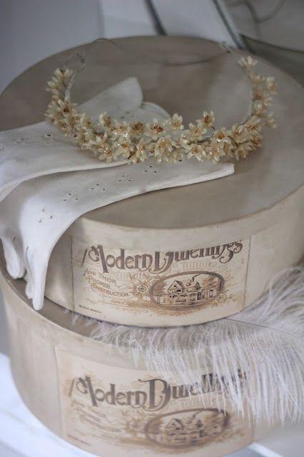Decorating Hat Boxes Magnificent Vintage Hatboxes  Delicate Tiara Like Headband  Déco Charme Design Ideas