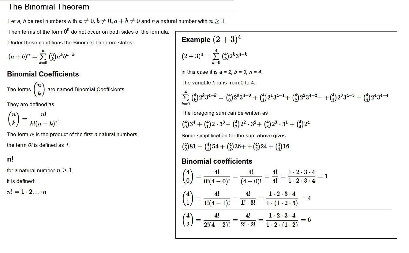 The Binomial Theorem Binomial Theorem Theorems Natural Number [ 827 x 1336 Pixel ]