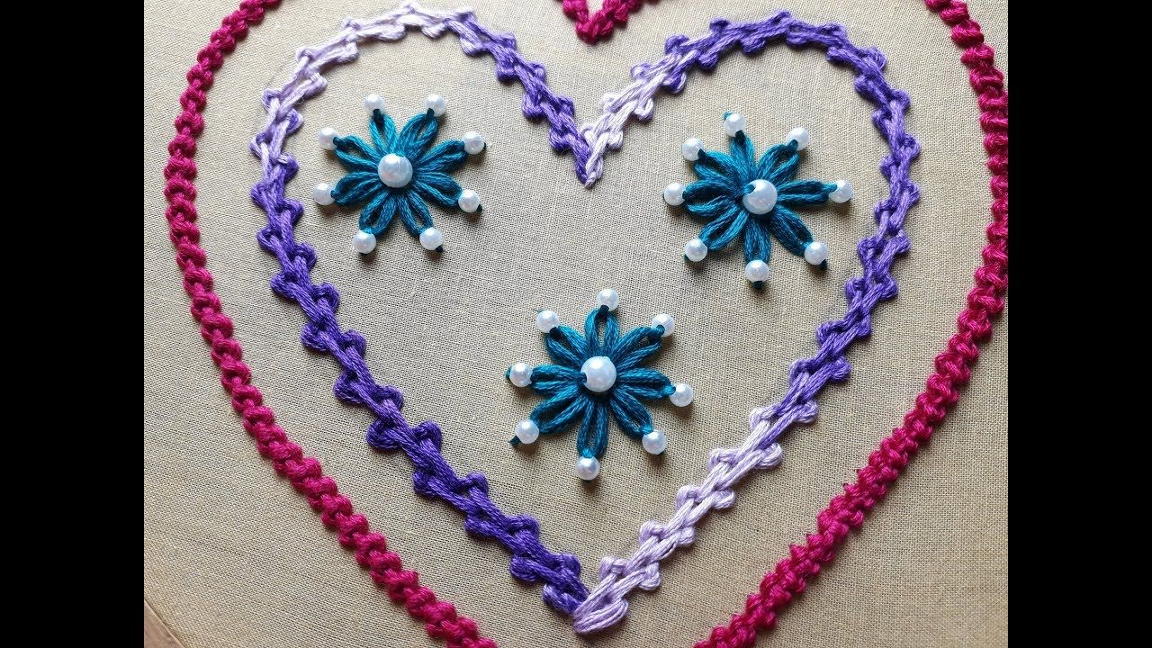 Hand Embroidery Heart Design Heart Design Making Ideas Of