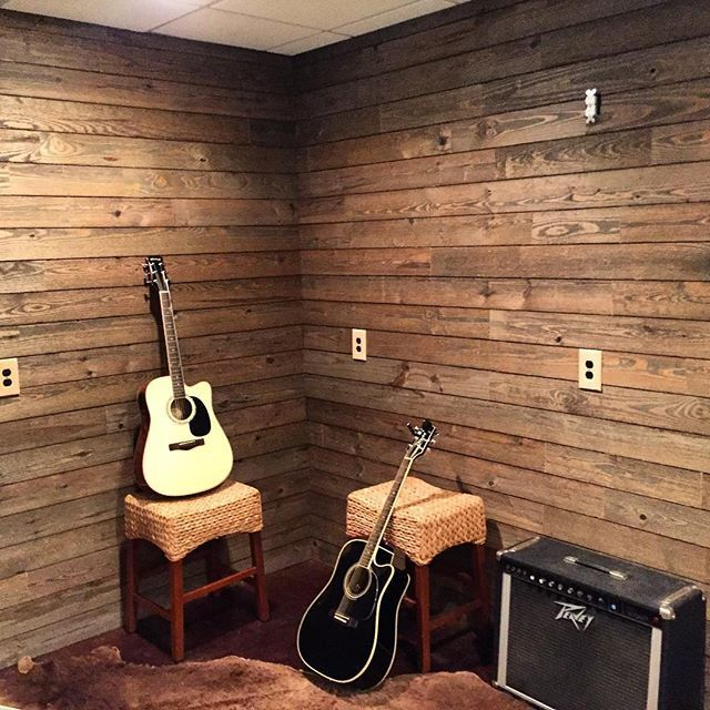 Rustic Collection in Wood Shed. Sold exclusively at @loweshomeimprovement #rusticcollection #heritagefinishesmodernstyle #wood #woodwork #woodplanking #finishedproduct #diy #design #interiordesign #musicroom #instaguitar