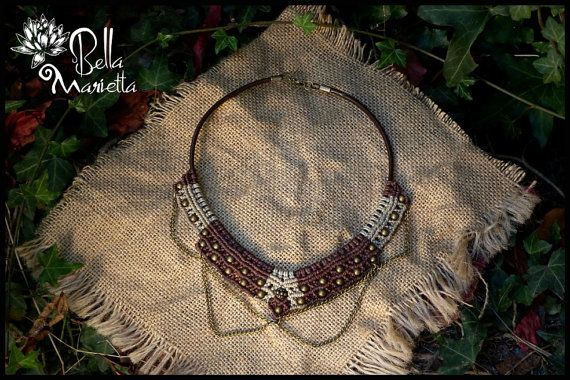 Lady Little Warrior. macrame leather choker. por BellaMarietta