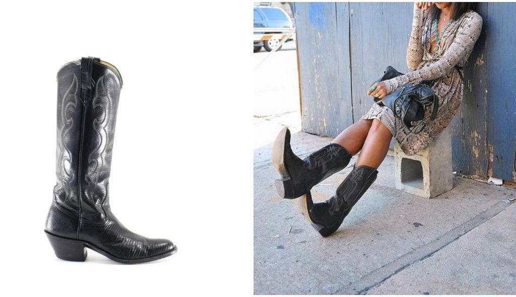 Cowboy Boots Tall Black Leather Vintage