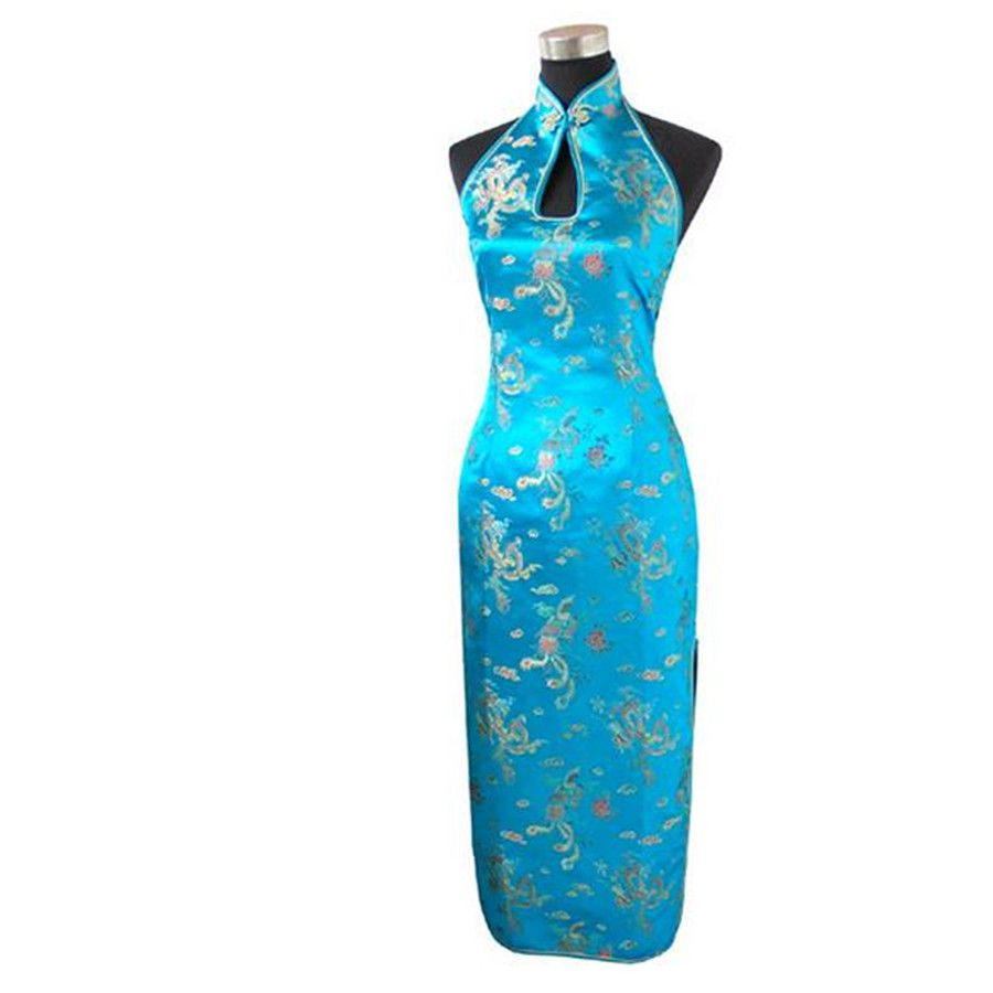 High Quality Light Blue Chinese Women\'s Traditional Long Qipao ...