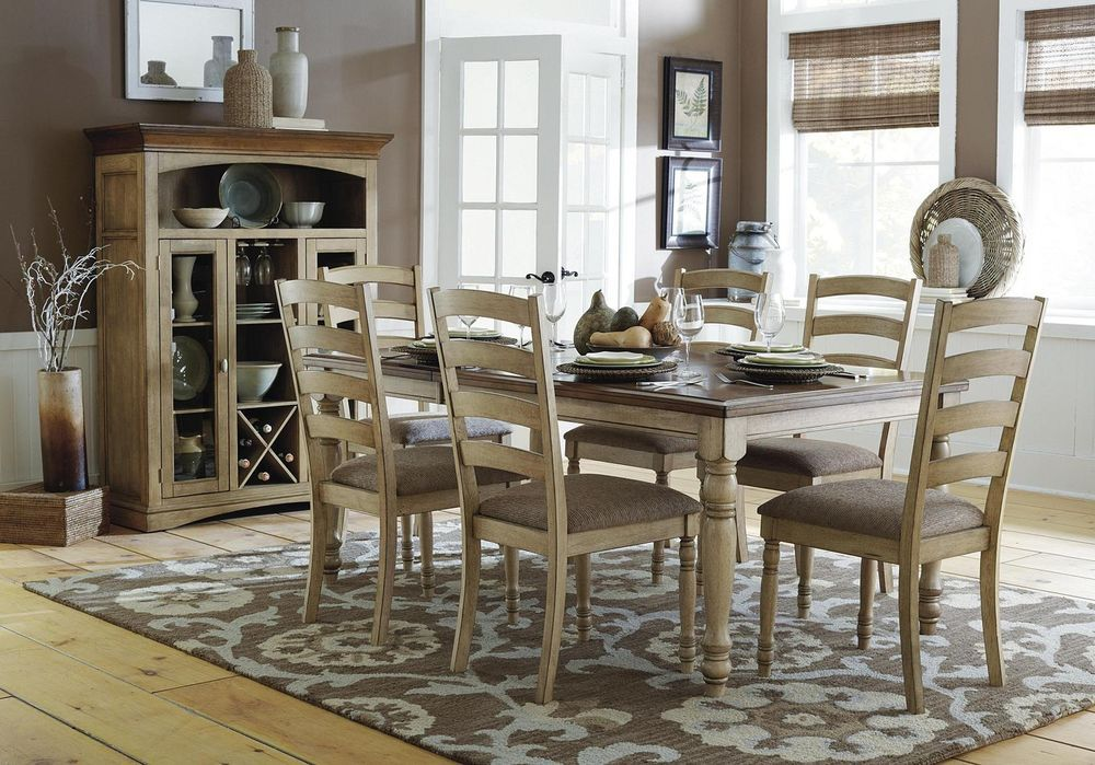 Solid Wood Dining Table Amp Chairs Room Furniture Set Ebay Handsome Std Grand