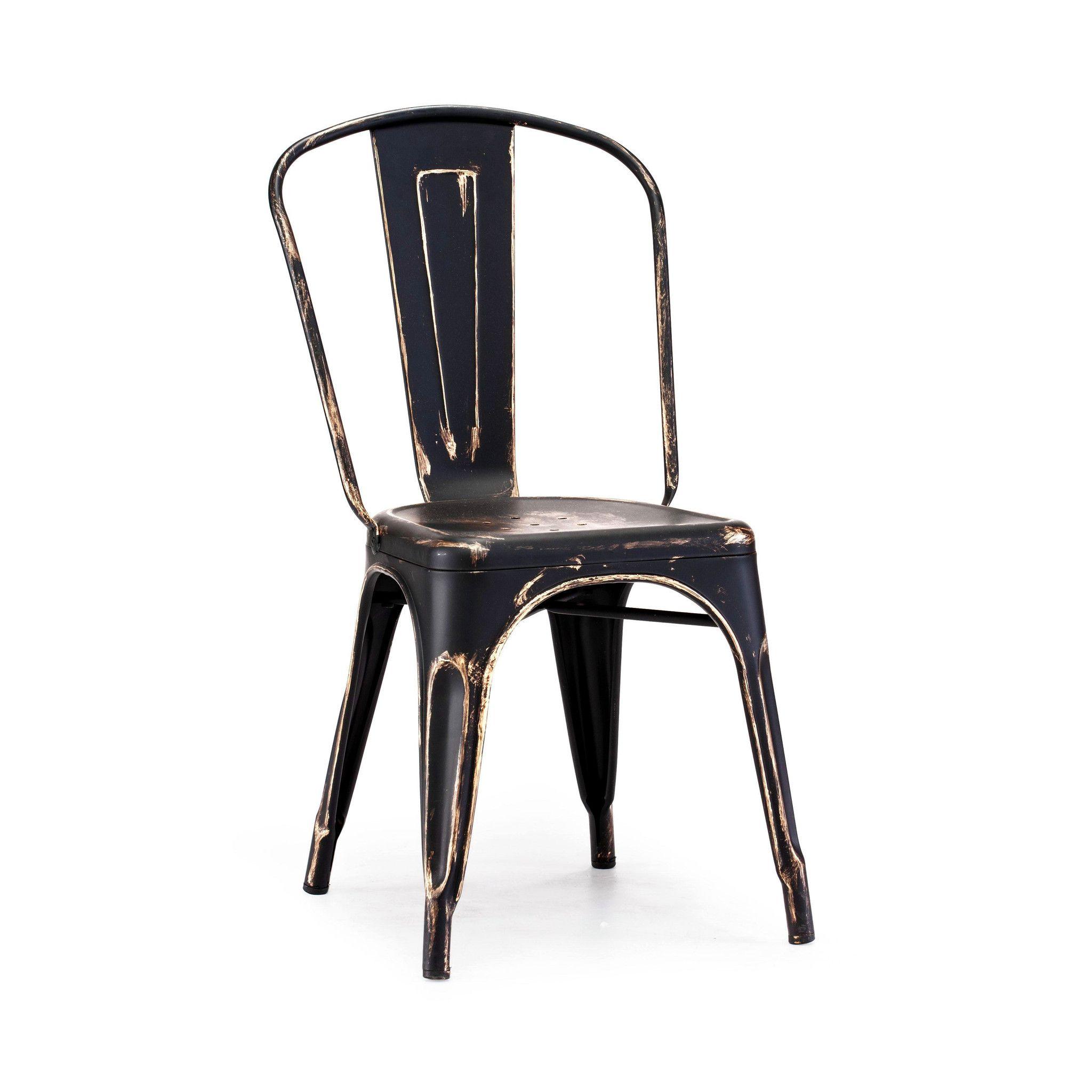 Dreux Stackable Vintage Matte Black + Gold Steel Side Chair (Set