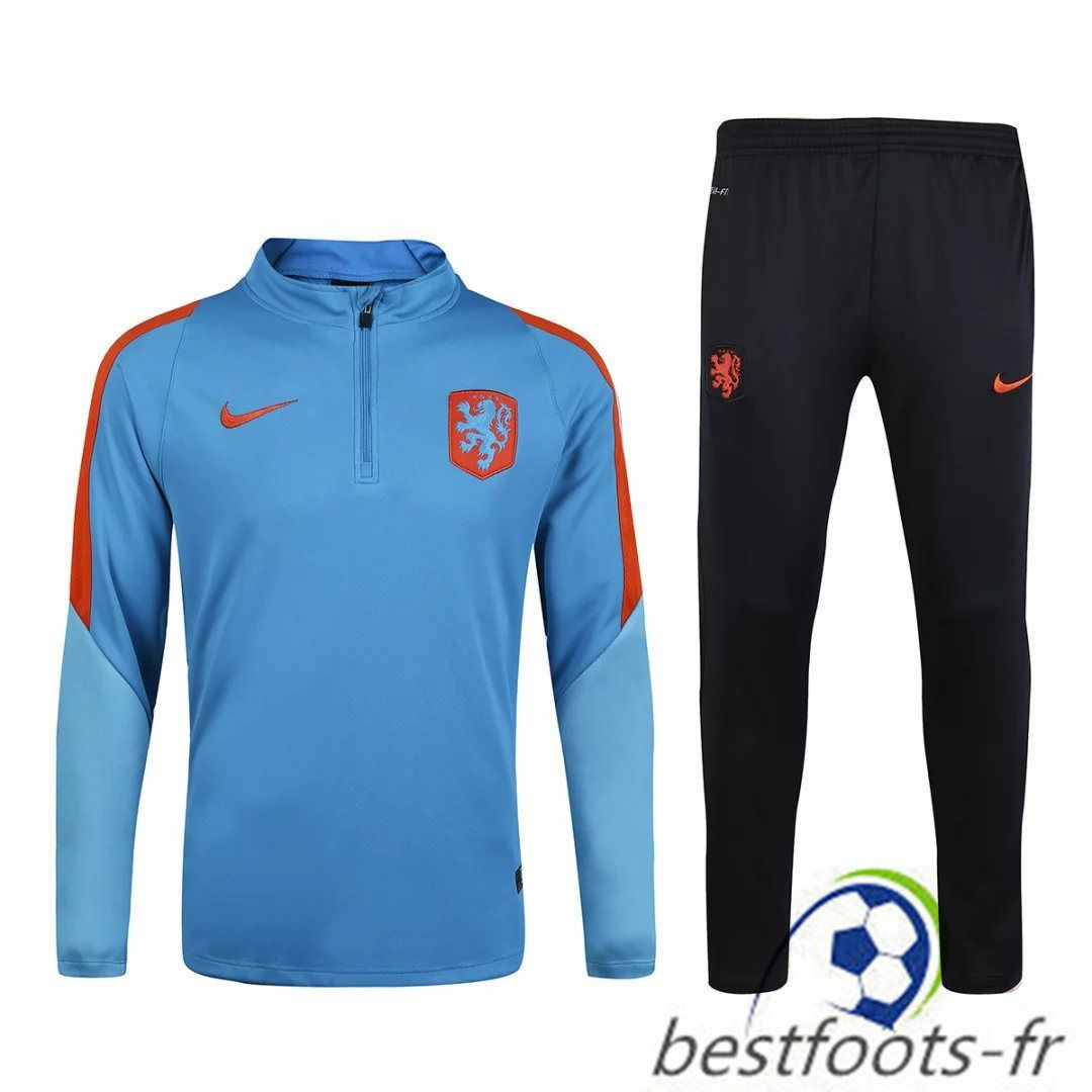 Officiel Nouveau Survetement de foot Netherlands Bleu 2016 2017