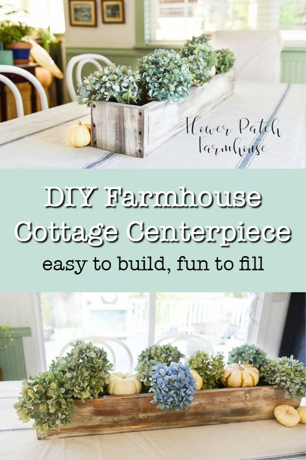 Easy DIY Farmhouse Cottage centerpiece. Easy to build and fun to fill each season with your unique decor. Step by step instructions. #diydecor #farmhouse #cottage #flowerpatchfarmhouse
