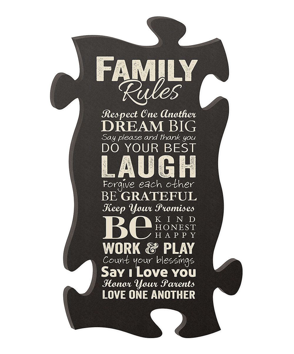 Family Rules Puzzle Piece Wall Art Zulily Fashion Gifts