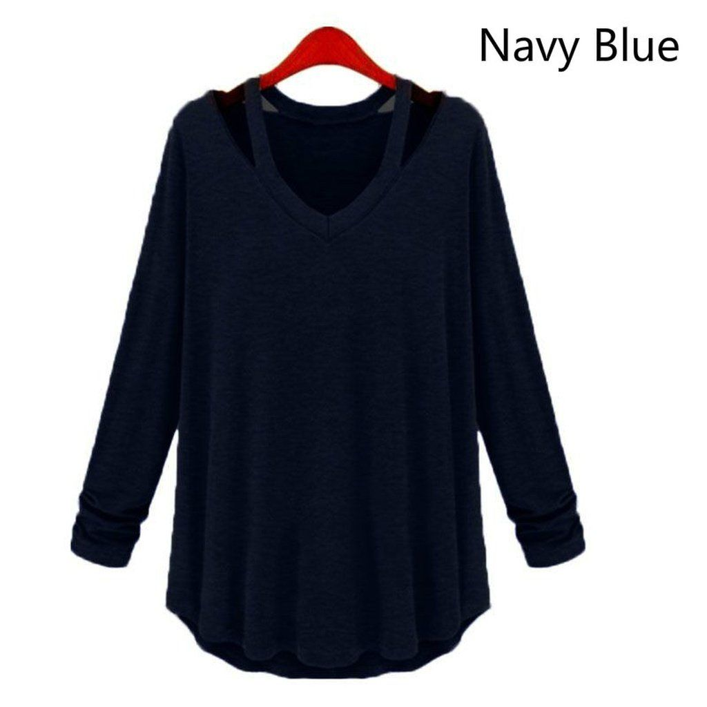 Women's Fashion Casual Long Sleeve V-Neck Cotton Tee Tank Top T Shirt Loose Blouse Plus Size Tops