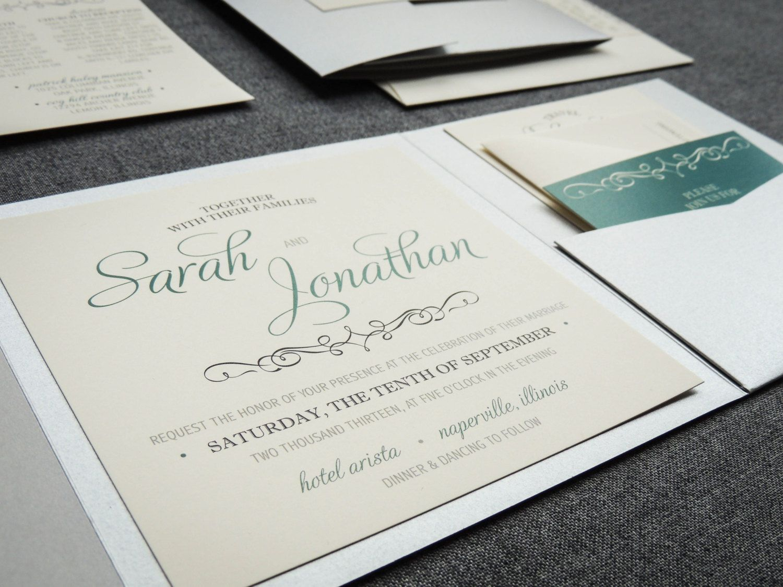 Enchanting Vintage Wedding Invitation shown in Teal, Emerald, Dark ...