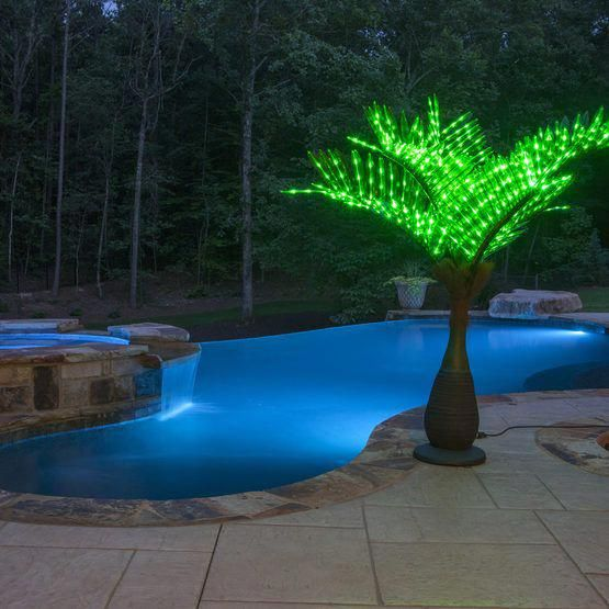 Bottle Commercial LED Lighted Palm Tree with Green Canopy is part of Backyard pool landscaping, Backyard pool, Pool landscaping, Small backyard design, Swimming pools backyard, Decks backyard - Bottle commercial led lighted palm tree with green canopy  bring the tropics to your yard this year!