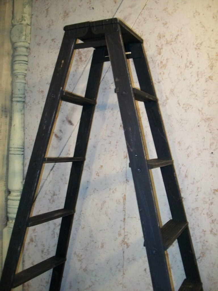 we are now combining 2 antique step ladders to make a double sided frame wooden ladders for shelving and for christmas tree displays - Wooden A Frame Ladder
