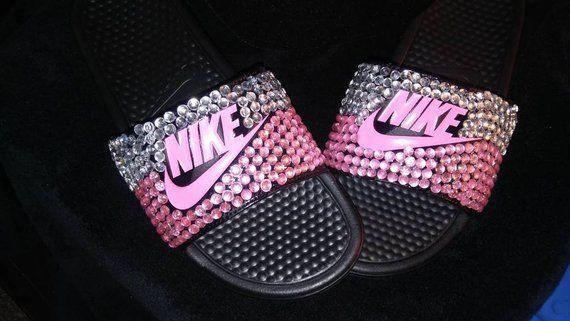 82452e0acec1 Black and pink bedazzled nike womens  girls slides shoes in 2019 ...
