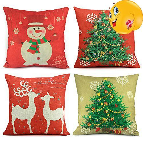 Homar Christmas Theme Decorations Cotton Linen Pillowcase Throw