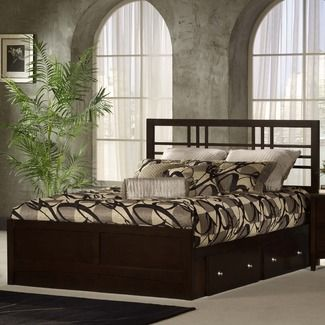 great platform bed with cool headboard and drawers underneath..love it!