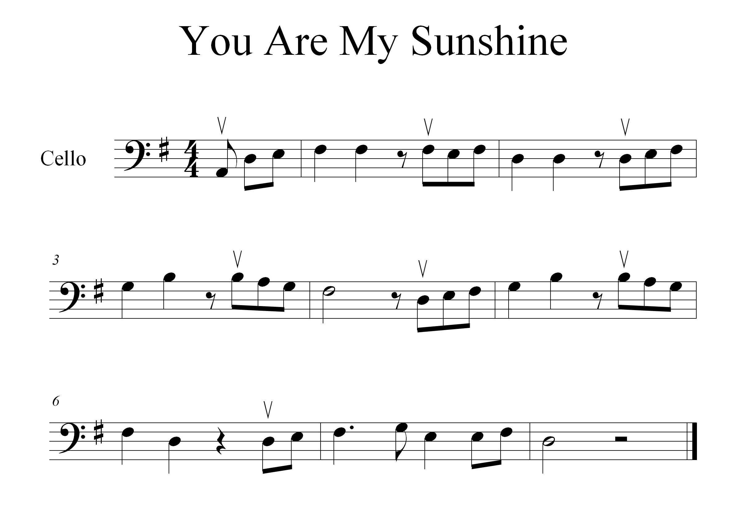How To Play You Are My Sunshine On The Cello Cello Sheet Music
