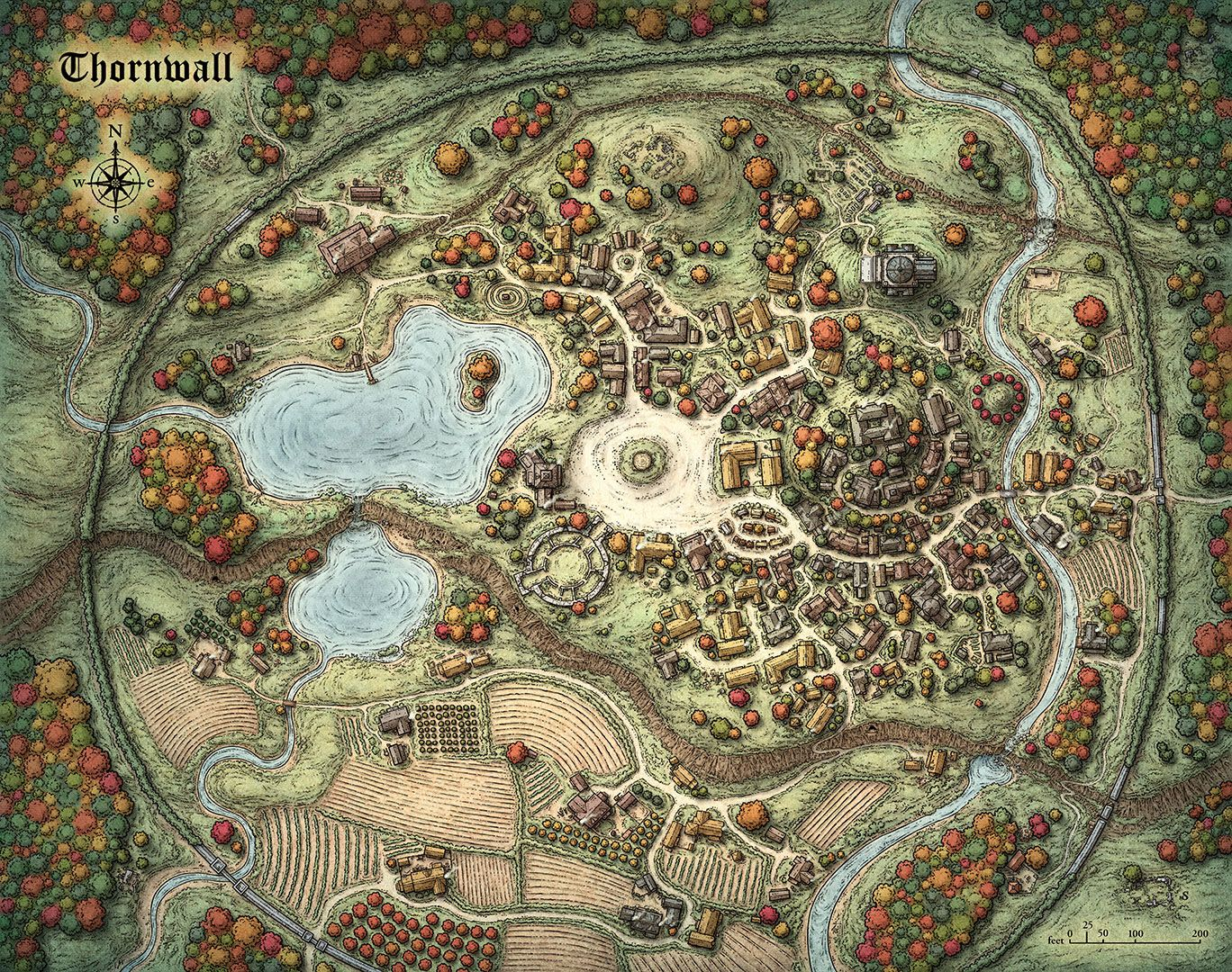 """This poster sized map of a classic fantasy town serves as a home base and establishes the visual environment for the roleplaying game setting """"World of Aetaltis"""" by Marc Tassin."""