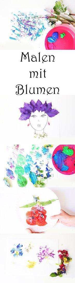 Basteln mit Kindern im Sommer - 6 Ideen zum Malen und Stempeln mit Blumen. Blumen hämmern. Blumenpinseln
