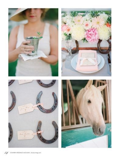 """Southern Wedding --- Horseshoes and classic race day """"bucket"""" cup. Can you say, yum mint julep!"""