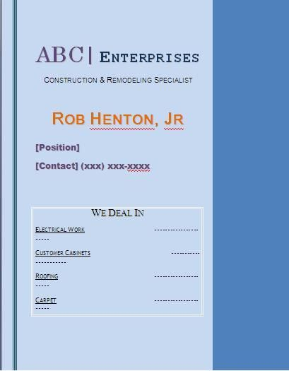 Card Templates For Word Alluring 10 Name Card Templates  Word Excel & Pdf Templates  Www .