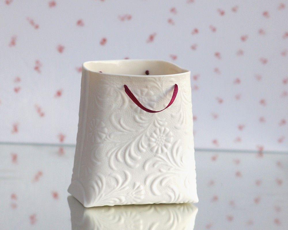 Porcelain textured bag (medium container). Designed by Wapa Studio..