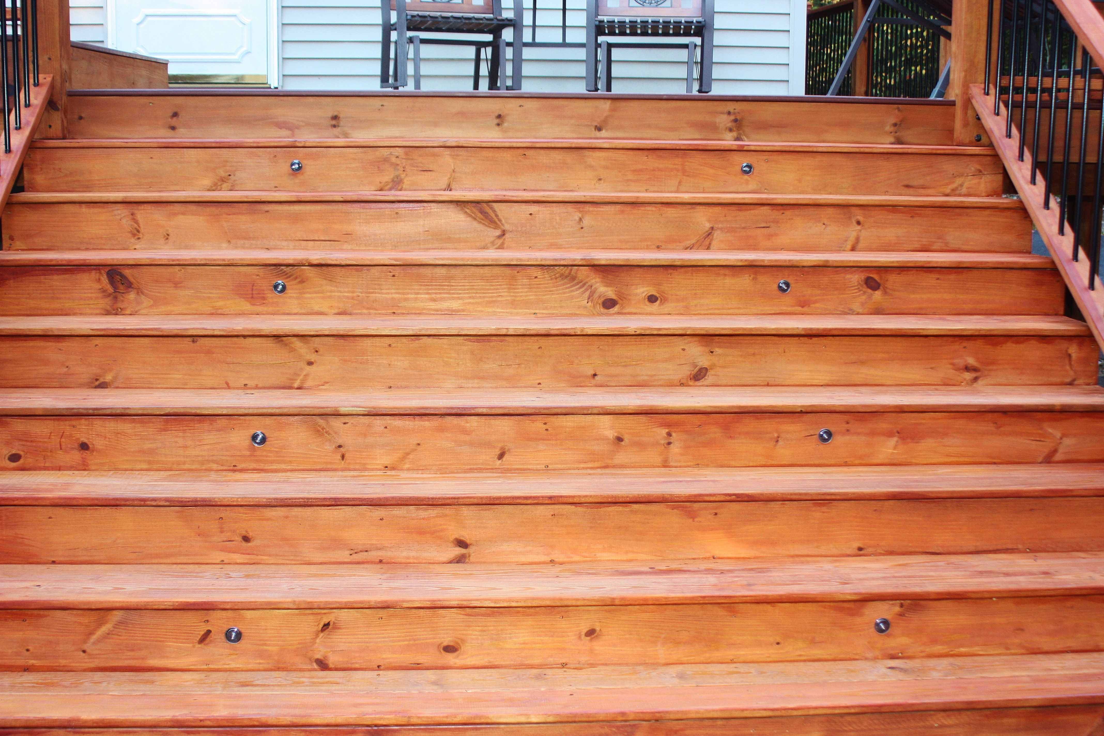 New Deck With One Coat Of Cabot S Australian Timer Oil Mahogany Flame Deck Stain Wood Deck Stain Staining Deck Cabot Australian Timber Oil
