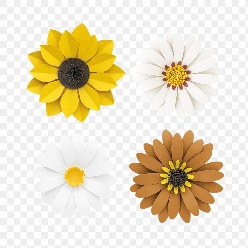 White And Yellow Flower Paper Craft Set Transparent Png Free Image By Rawpixel Com Nam Paper Flowers Flower Icons Sunflower Paper Craft