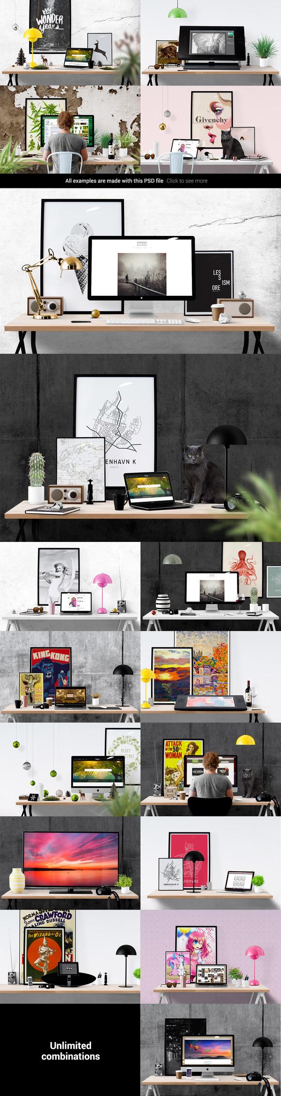Poster design creator - Mockup Scene Creator Desk Use It For Your Etsy Presentation Header Images Product