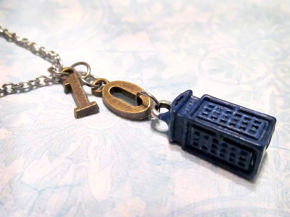 """DOCTOR WHO 10th Doctor Necklace with THREE Charms (18"""" Chain) - Custom Orders Welcome"""