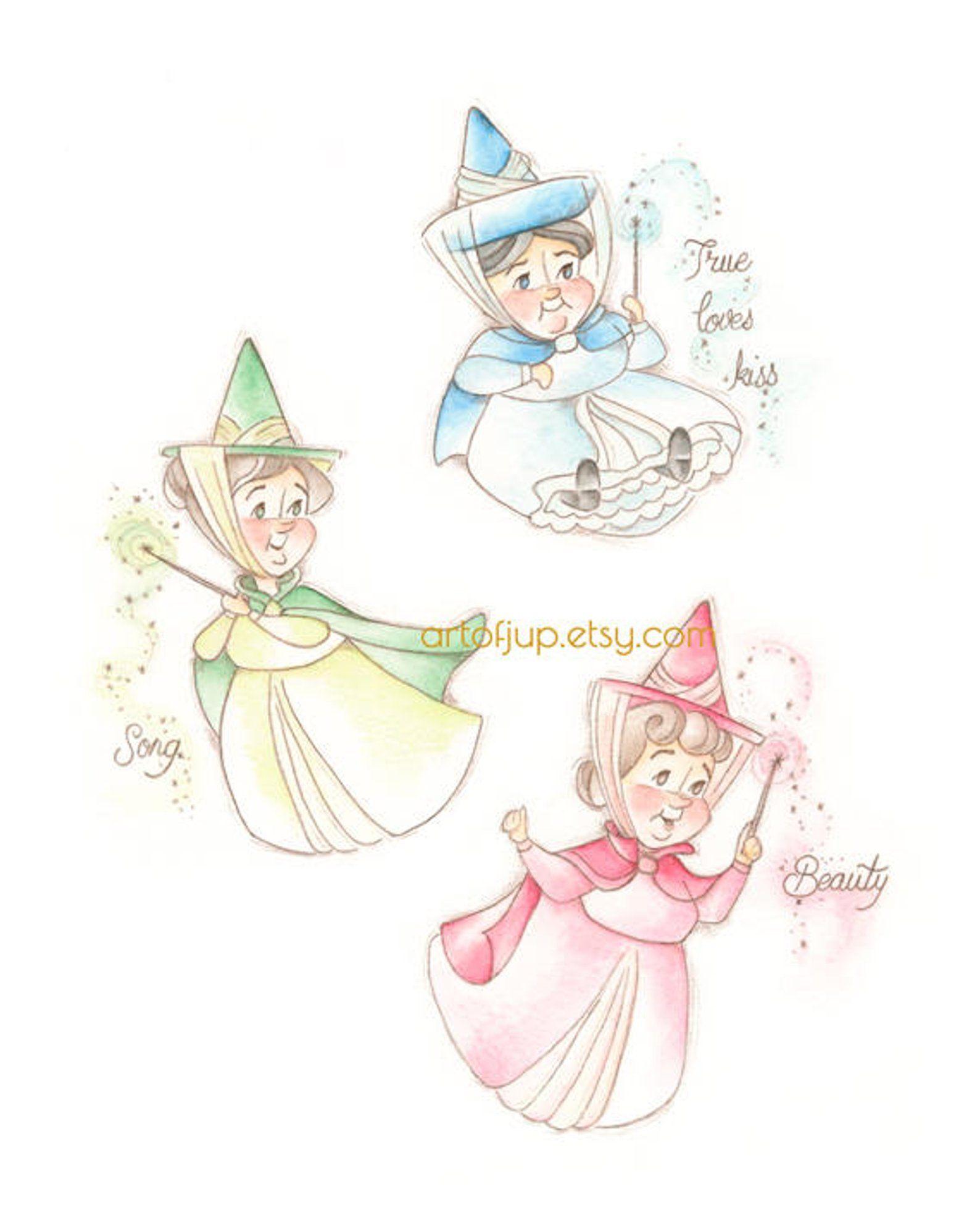 Sleeping Beauty Print Three Good Fairies Flora Fauna