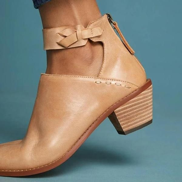 Plus Size Chunky Heels Buckle Ankle Boots