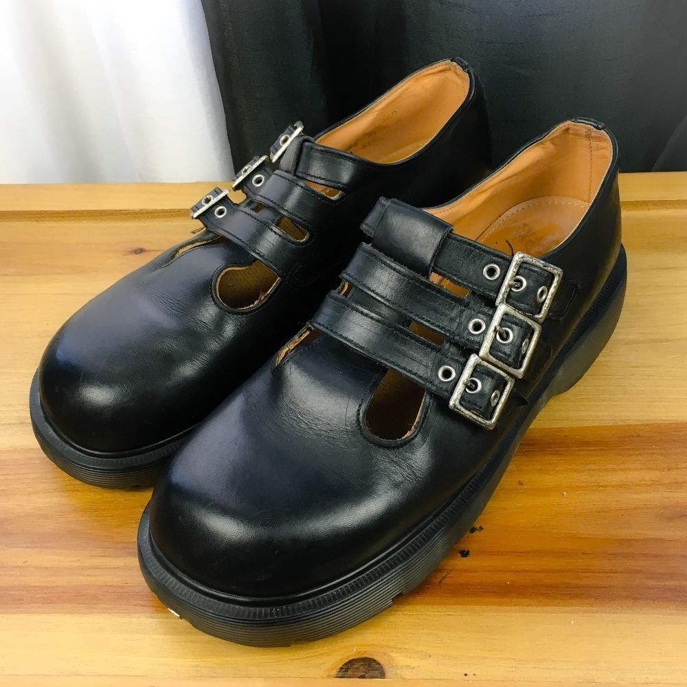 DOCTOR DR. MARTEN Women's Shoes ~ Black Leather Triple Strap Mary Janes ~ 10 M #DrMartens #MaryJanes