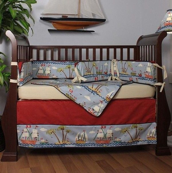 Ahoy Crib Bedding By Hoohobbers Perfect For The Little Mischievous Pirate At Home Decoist