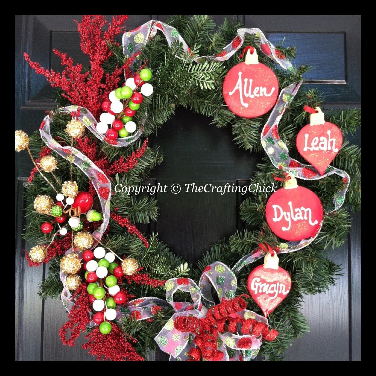 Christmas Wreath Personalized Family 50 00 Via Etsy Cute Idea With Th Christmas Wreaths Personalized Christmas Ornaments Family Christmas Ornament Wreath