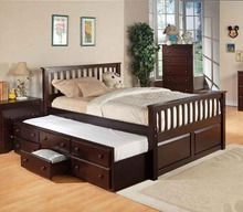 Cyril Espresso Faux Leather Full Bed W Trundle Bed With Drawers Underneath Bed With Drawers Full Size Trundle Bed Queen bed with trundle underneath
