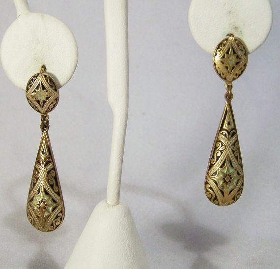 Vintage Damascene Long Dangle Pierced Earrings Gold Tone Spain 1014DG